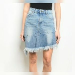 NEW Mustard Seed Embellished Raw Hem Jean Skirt